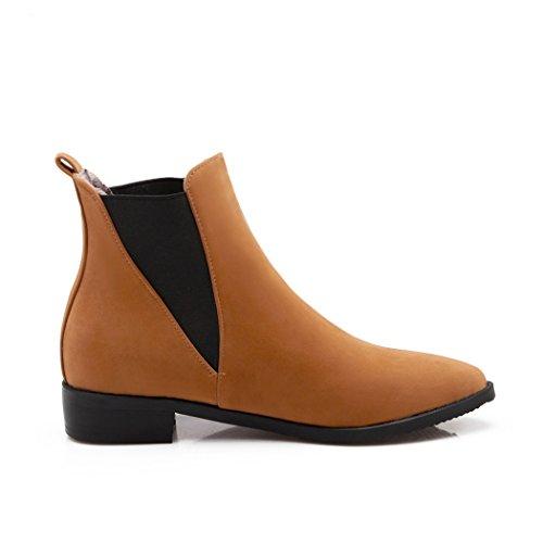 Zq @ Qxregalo De Noël Europe Et Les Bottes Pointues Couleur Coréenne Avec De Grandes Chaussures Et Des Bottes De Teinture Jaune Bas