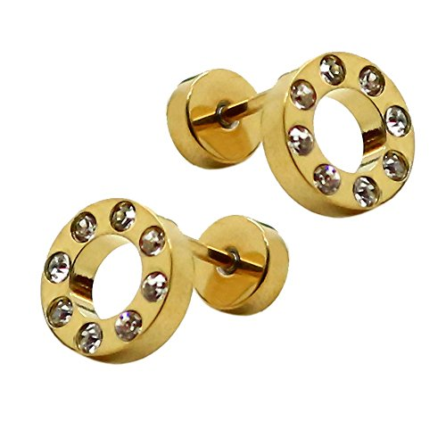 2 Faux Plugs Strass Fake Tunnel Boucle Clous d'oreille Couleur: Argent Or Noir Bleu Blanc Arc-en-ciel Piercing 8 ou 10mm goldfarben / gold / or - 10mm