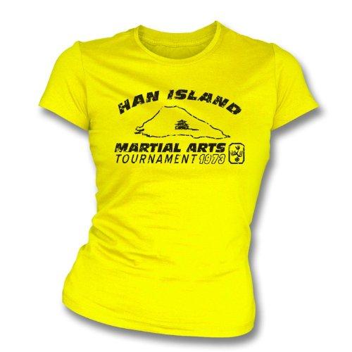 TshirtGrill Han Insel (Bruce Lee Enter The Dragon) Girl 's Slimfit T-Shirt groß, Farbe Lemon Gelb -