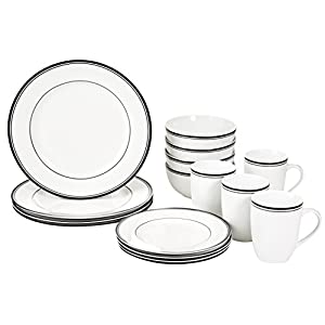 AmazonBasics Cafe Stripe Dinnerware Set with 16-Pieces - Black