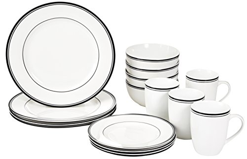 AmazonBasics Cafe Stripe Dinnerw...