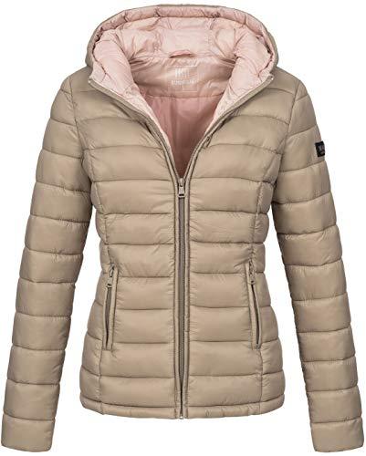 Marikoo Damen Jacke Steppjacke Übergangsjacke gesteppt B651 [B651-Luc-Taupe-Gr.L]