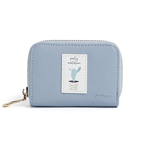 OURBAG Cartera de acordeón elegante de la mujer Bolso de embrague de cuero con cremallera Lindo bolso corto Azul