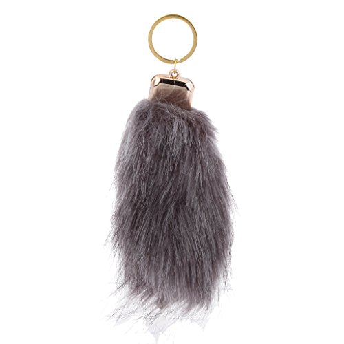 Imported Magideal Manmade Hair handbag Car Keychain Keyring Charm - Dark Grey  available at amazon for Rs.150