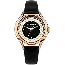 Morgan Women Watch and Black Leather Bracelet - Morgan - M1274BRG - BLUE PEARLS