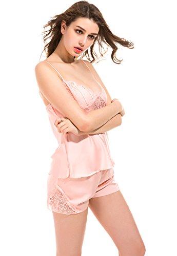 Vislivin Damen Satin Pyjamas Zwei Stück Set Camisole Top und Hähne Shorts Light Pink