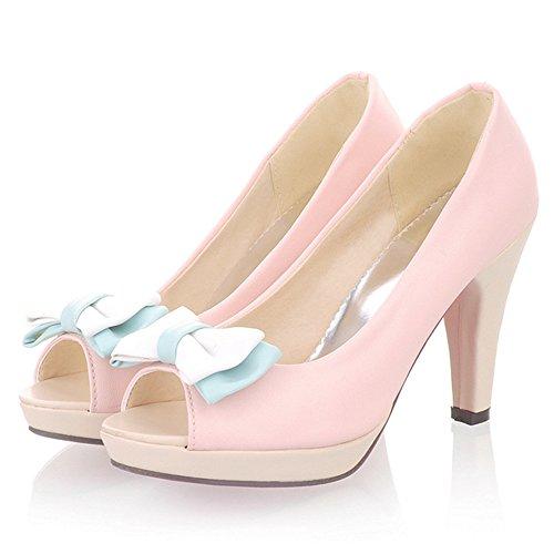 TAOFFEN Damen Elegant High Heel Plateau Sandalen Peep-toe Pumps mit Bogen Pink