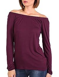 PILOT® Women's Plain Long Sleeve Bardot Top in Purple