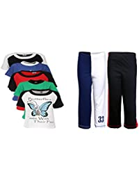 Gkidz Pack of 7 Boys Did You Know 5Pack Tee & Boys 2Pack Fashion Full Pant Combo Pack