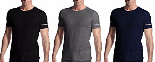 3 t-shirt uomo mezza manica girocollo cotone stretch diadora art. 00900s (4/m, nero/grigio/blu)