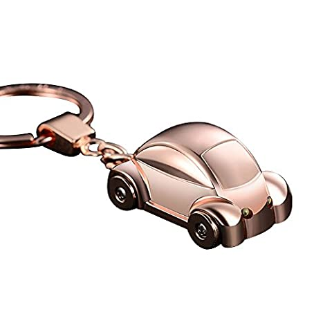 Jobon mini Beetle Car Stylish Keychain with SOS Flashlight made of Stainless Electroplated Alloy same cute with Pokemon (Gold)