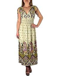 aaa780dff358 Peach Couture Damen Sommer Tropisch Elegant Boho A-Linie Lang Freizeitkleid  Cocktailkleid Kreuzfahrt Kleider Maxikleid