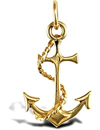 Jewelco London Solid 9ct Yellow Gold Anchor Charm Pendant