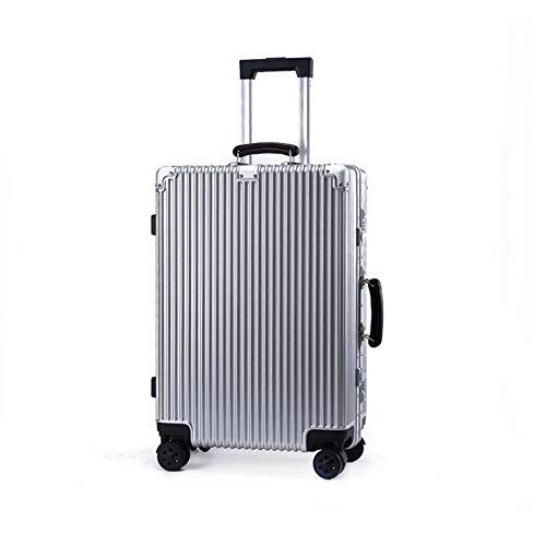 HONG SHENG Valigetta in Alluminio Grande Bagaglio Universale in Metallo Trolley da Viaggio Bellezza Trolley da Viaggio Retro PC Suitcase Unisex,White,20Inches