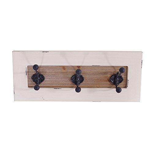 Garderobe Provence Landhaus Stil 3 Kleiderhaken Holz Vintage Look creme weiß