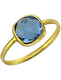 Ellen K. - Bague - Or jaune 375/1000 (9 cts) - Topaze bleue - 229370025-2-054