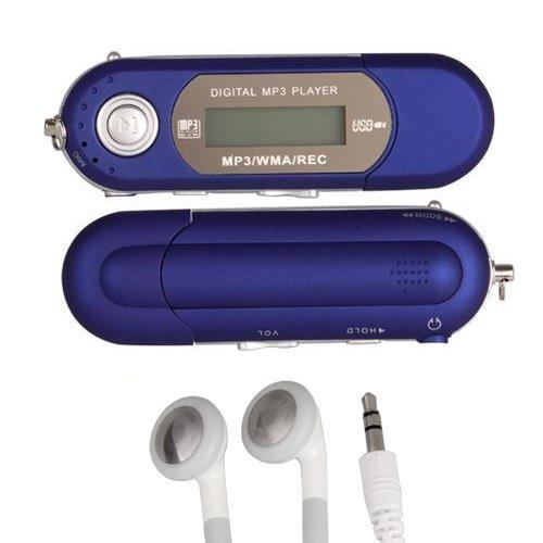 TOOGOO(R) REPRODUCTOR MP3 8GB FM RADIO GRABADORA AZUL +AURICULARES