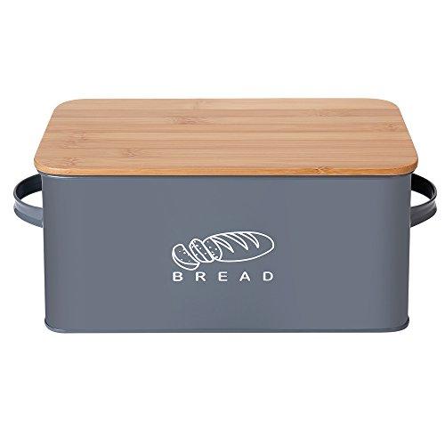 GA Homefavor Panera Contenedor de Cocina para el Pan con Tapa de bambú, 37 * 19 * 17 cm