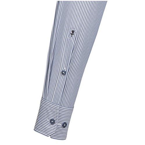 SEIDENSTICKER Herren Hemd Comfort 1/1-Arm Bügelfrei Streifen City-Hemd Kent-Kragen Kombimanschette weitenverstellbar blau (0013)