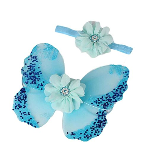 Baby Mädchen Schmetterling Flügel Kostüm Foto Fotografie Stütze Outfits (Blau) (Baby Und Kinder Schmetterlings Kostüme)