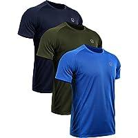 Neleus Men's 3 Pack Mesh Athletic Running Sport Shirts,5033,Navy Blue,Blue,Olive Green,L,EU XL
