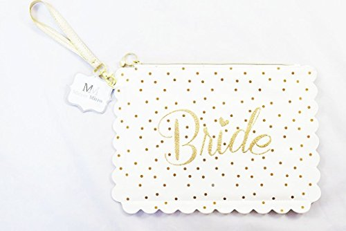 """Kosmetiktasche mit Aufschrift """"Bride"""", für Make-up, weiß, Goldglitzer, Geschenk für Brautparty"""
