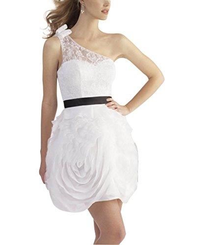 GEORGE BRIDE Eine Schulter Brautkleider Hochzeitskleider mit Perlen Appliques Weiß