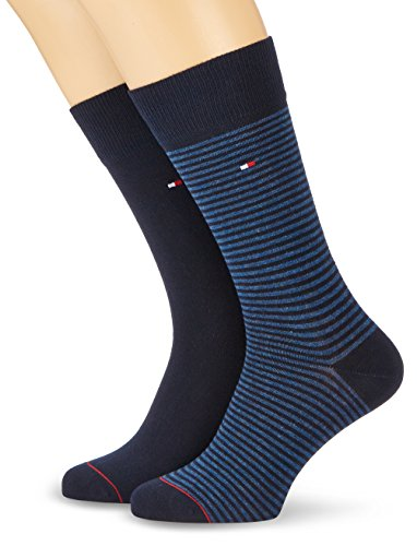 Tommy Hilfiger - TH MEN SMALL STRIPE SOCK 2P, Calze uomo, Dark Navy 322, 43-46