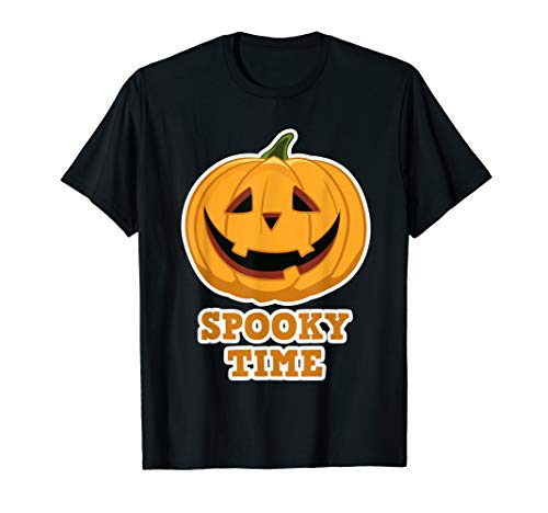 Funny Gruselige Halloween Kürbis Spooky Time Damen Herren  T-Shirt