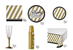 Idea Regalo - Dolce Idea Coordinato tavola Completo Oro e Nero Festa addobbi Compleanno . (Generico)