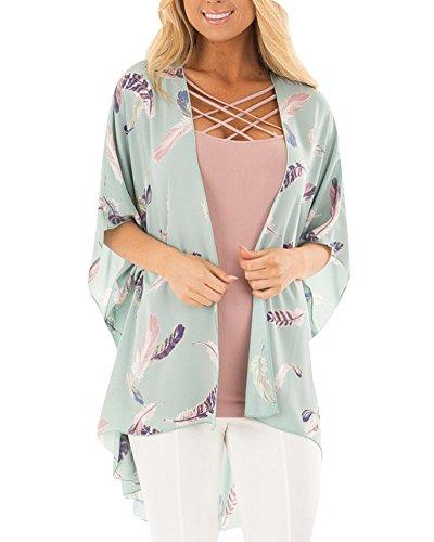 Liangzhu Womens Boho Unregelmäßige Langarm Wrap Kimono Cardigans Casual Coverup Mantel M - Langarm-wrap Cardigan
