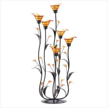 Gifts & Decor Amber Calla Lily Flower Bunch Tealight Candle Holder by Furniture Creations