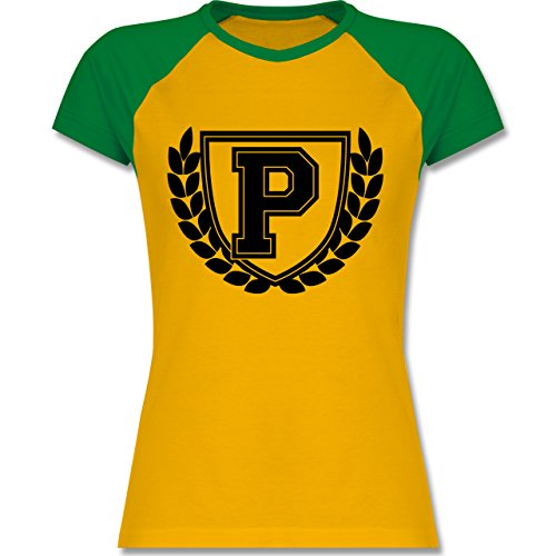 Anfangsbuchstaben - P Collegestyle - zweifarbiges Baseballshirt / Raglan T-Shirt für Damen Gelb/Grün