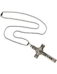 Sullery Jesus Cross Locket Crucifix Stylish Chain Christian Pendant Stainless Steel Necklace Jewelry For Unisex