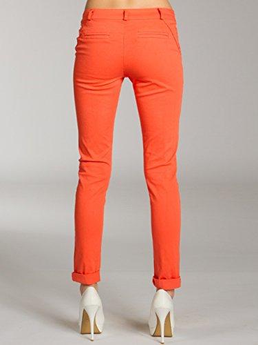 CASPAR KHS037 Pantalon skinny fit chino en coton pour femme Corail
