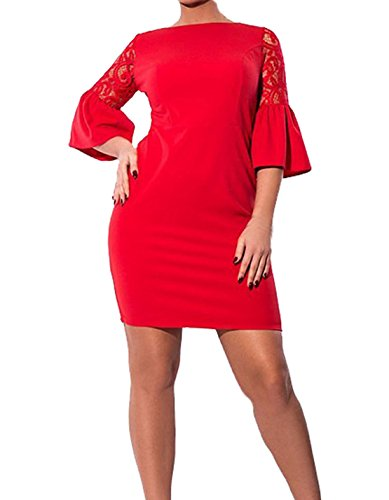 Damen Mode Uboot Ausschnitt Petticoat Einfarbig Bleistiftrock SpitzehäKelarbeit Abendkleider Spleißen Ballkleid Trompete Ärmel Halärmel Cocktailkleid Rot