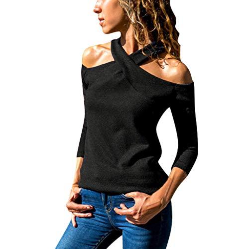 Tianwlio Damen Winter Langarmshirt Hoodie Pullover Mode Lässige Lange Ärmel Tupfen Lose Pullover T-Shirts Blusen Schwarz L