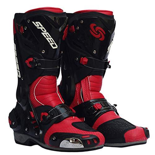 Preisvergleich Produktbild MERRYHE Motorradstiefel für Herren Outdoor Motorrad Sportstiefel Motorrad Rennstiefel Gepanzerte Stiefel, Red-40