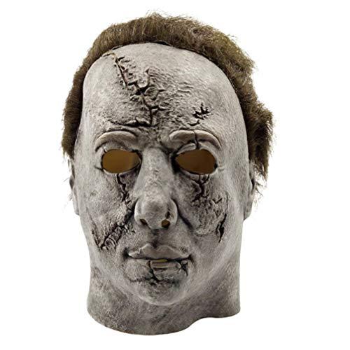 Myers Kostüm Clown Michael - YuStar Michael Myers Maske Latex Horror Masken Halloween Make up Party Kostüm Full Head Deluxe mit Haar