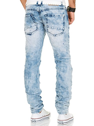 Jeans Herren Hose Denim Destroyed Vintage Clubwear Slim Fit Used Look Chino Blau