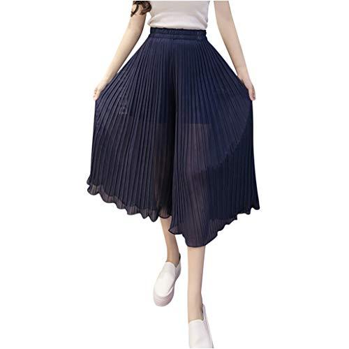 Plissee Denim Pant (ZYUEER Damen Hosen Freizeithose Sporthosen Joggerhose Mode Frauen Hohe Taille Stretch Hose Weites Bein Unten Plissee Hose Strandhose Yogahose)
