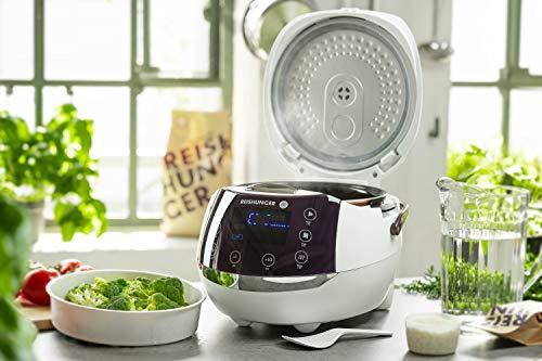 Reishunger Digitaler Reiskocher (1,5l/860W/220V) Multikocher mit 12 Programmen, 7-Phasen-Technologie, Premium-Innentopf, Timer- und Warmhaltefunktion – Reis für bis zu 8 Personen
