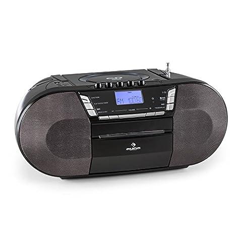 auna Jetpack Boombox Radiorekorder Kassettenrekorder (MP3-CD-Player, UKW Radio-Tuner, Kassettendeck, AUX,