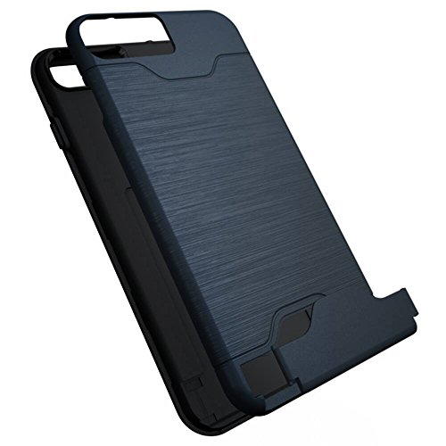 """Cover pour Apple iPhone 7Plus 5.5"""", CLTPY Portable Brushed 2 en 1 Dual Layer Etui en Portefeuille Doux Gel Rubber + Difficile Tough Plastique Couvercle avec Fente Carte et Kickstand Protection Extreme Bleu Foncé B"""