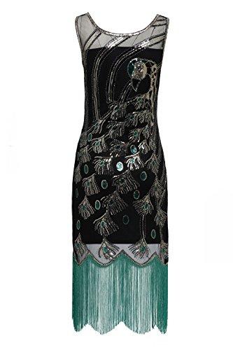 BABEYOND Damen Pailletten Pfau Feder Muster Lange Kleider mit Troddel Ohne Arm Damen Retro Kostüm Kleid Abbildung 3