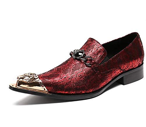 LOVDRAM Männer Lederschuhe Männer Oxfords Schuhe Luxus Hochzeitskleid Italienische Schuhe Männer Echtes Leder Spitz Formelle Schuhe Mocassin Homme 6,5 Aspic Leder Mocassin