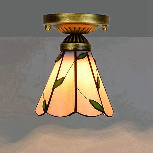 ASDF Tiffany Deckenleuchte, Henley 6-Zoll Glasmalerei Deckenleuchte Schlafzimmer Lampe Art Deco Decken Beleuchtung Tiffany Stil Einfache Deckenlampe Für Wohnzimmer Flur -