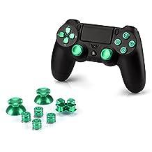 OKCS® Sony Playstation 4 Dualshock 4 Controller Aluminium Buttons pezzo di ricambio Thumbsticks tasto D-Pad PS4 in verde