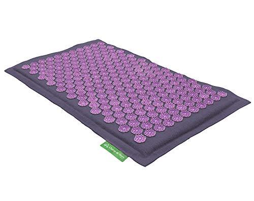 Akupressurmatte (mauve violett) - Original Blumenfeld Spitzenqualität mit Patentierten Lotusblumen - Natürliches Material, Schadstoff- und Milbenfrei, Kokosfaser und Naturleinen -