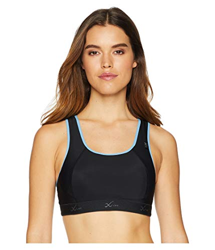 CW-X Stabilyx Damen Cross Over Racer Back Xtra Support III Stretch Sport-BH, Damen, 165105, Black/Periwinkle, 80 D